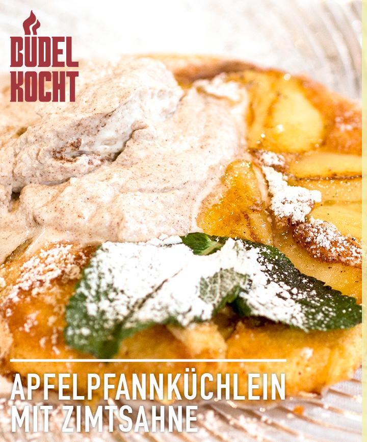 Büdel kocht: Apfelpfannküchlein mit Zimtsahne